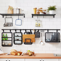 DIY Home Organization Holder Kitchen Rack Aluminum Alloy Kitchen Shelf Wall mounted Spice Pot Lid Tableware Cooking Tools Rack