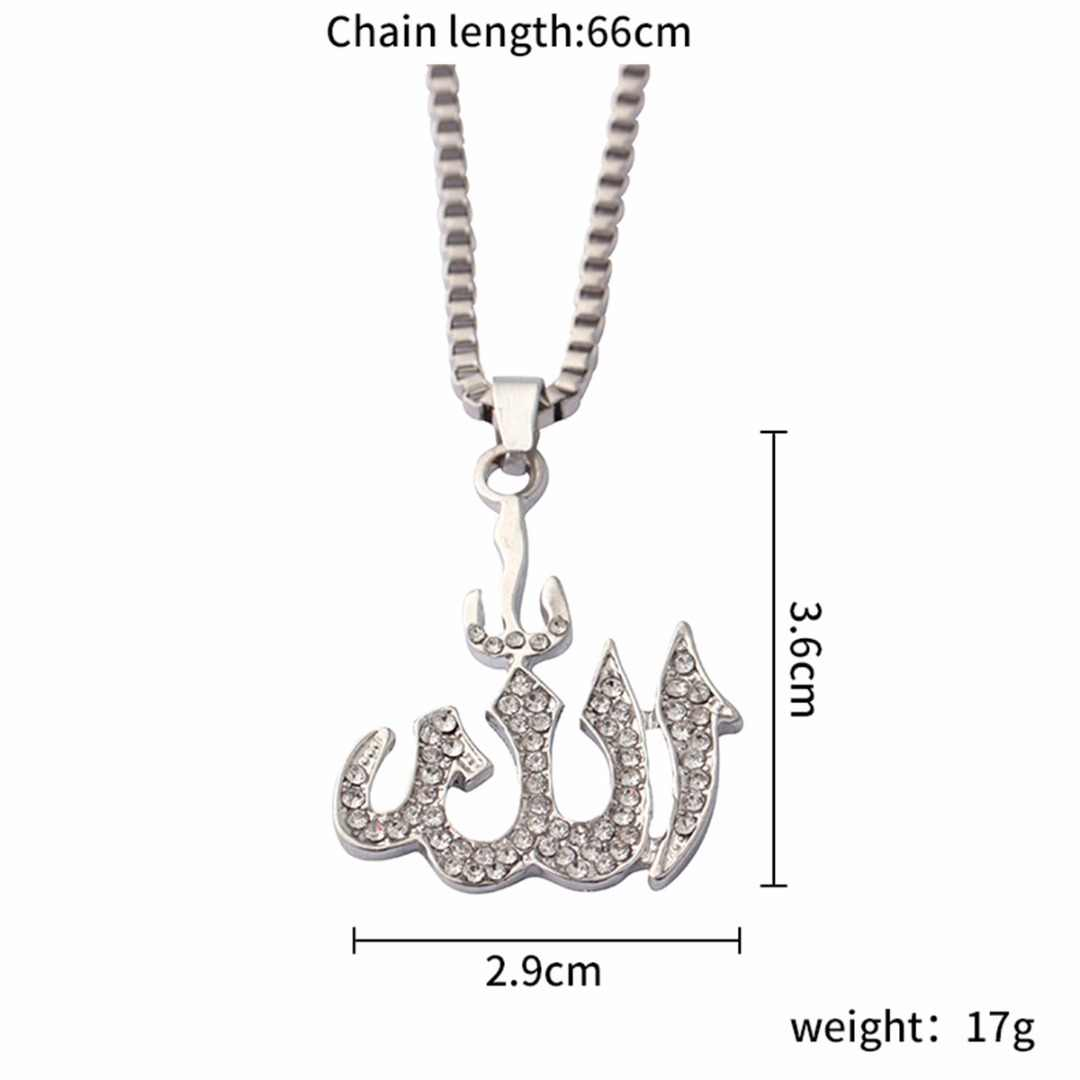 Men Women Religious Jewelry Hip Hop Crystal Charm Pendant Allah Necklace Rock Rhinestone Long Chain Necklace Indian Jewellery