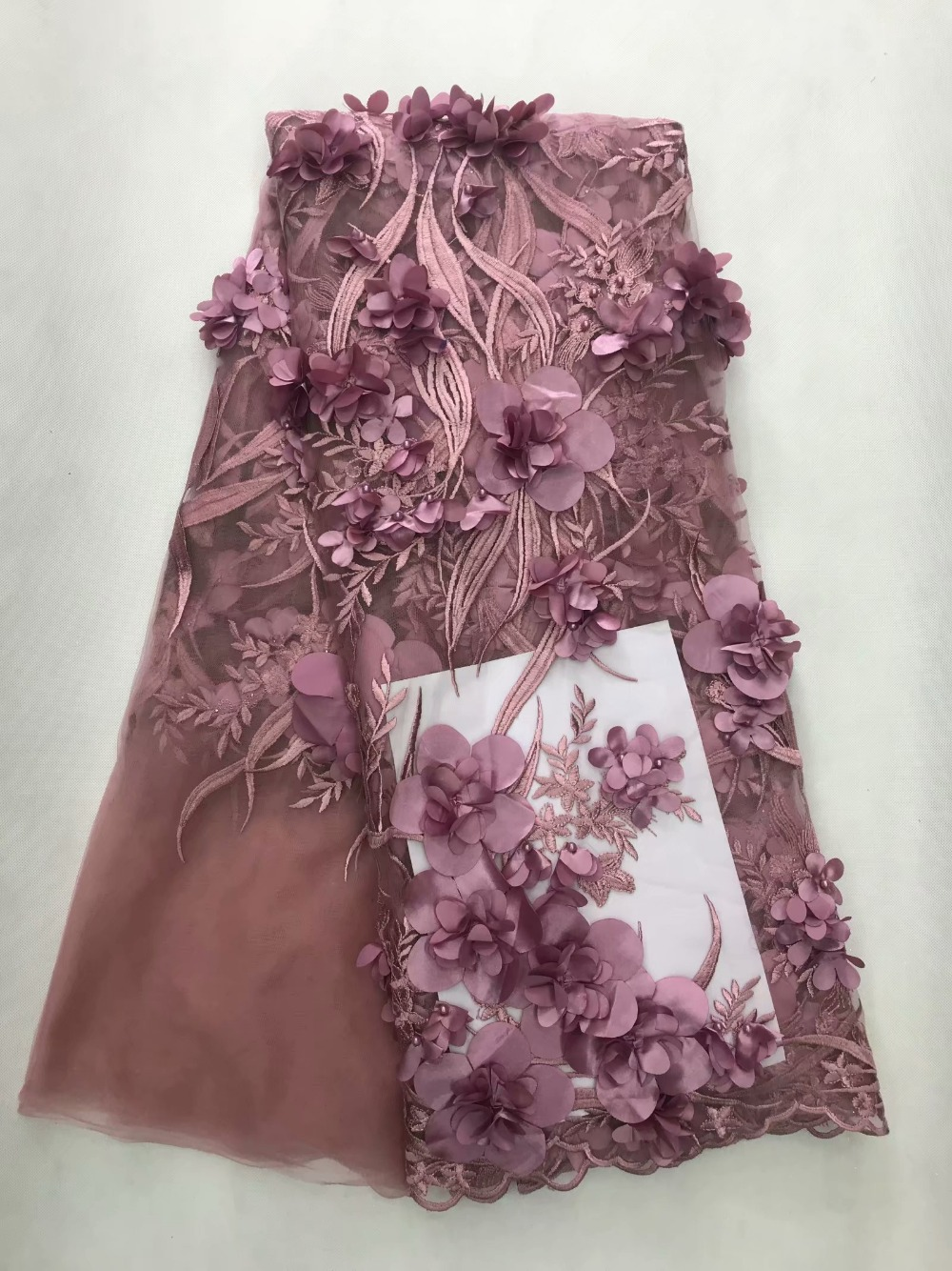 Hot pink pani Africa fine lace fabric high quality French pink applique 3D beaded tulle lace fabric dubai royal apparel-in Lace from Home & Garden    1
