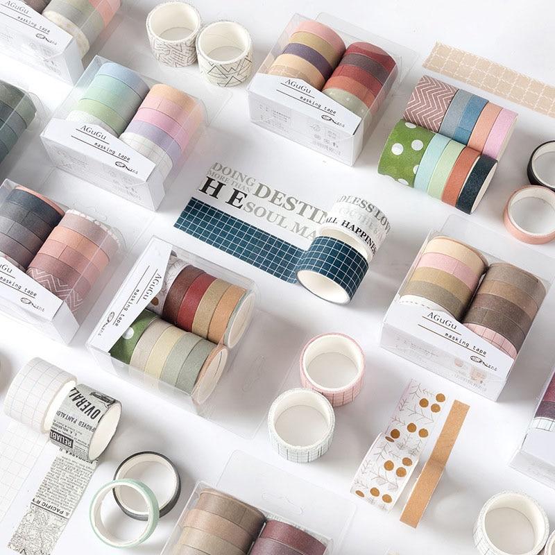 10Pcs/Set  Kawaii Masking Tape Cute Grid Washi Tape SetDecorative Adhesive Tape For Kids DIY Scrapbooking Diary Photos Albums