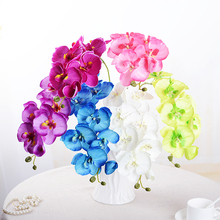 Fashion 1 piece  Artificial flower 8 small phalaenopsis Simulation single branch Interior decoration Plastic fake