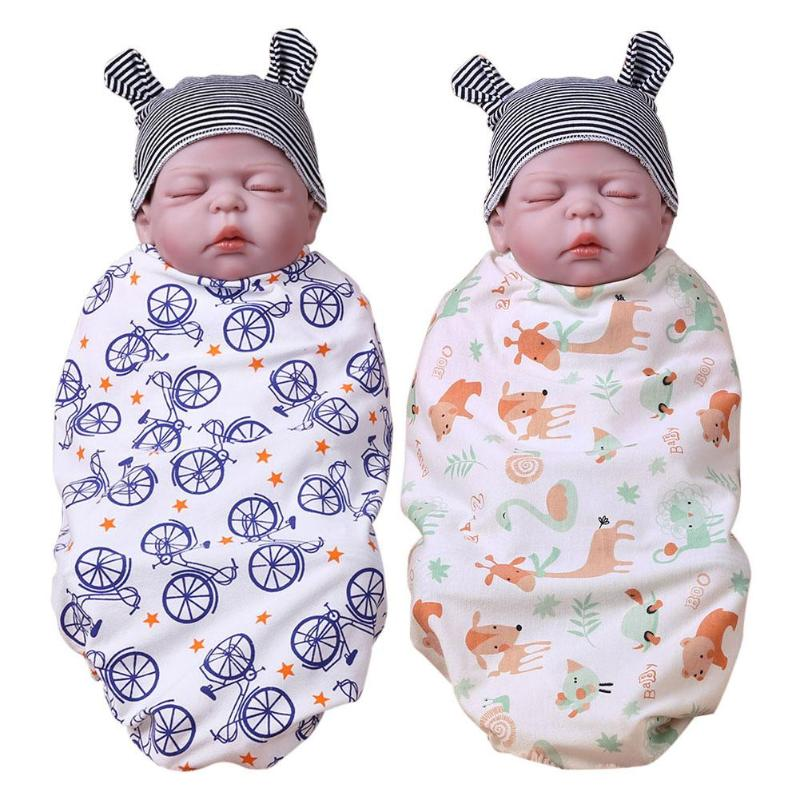 Baby Blankets Newborn Baby Swaddle Soft Cotton Sleeping Mat Wrap Infants Cartoon Printed Bath Towel Throw Blankets For Beds