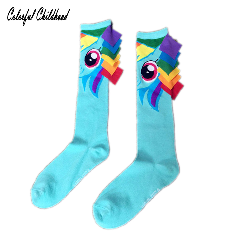 Baby Girls Knee High Socks Kids Children Cartoon Little Pony Princess Leg Warmers Solid Cotton Girl Long Tube Funny Socks 8-16t