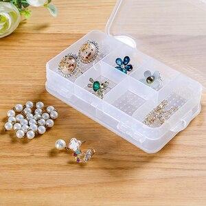 Пластиковая коробка для хранения, 10 ячеек, коробка для ювелирных изделий, крафт-хранитель, двухслойная коробка для таблеток, отсек, регулиру...