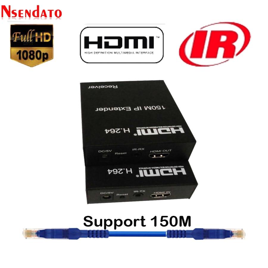 150m HDMI IR Extender over IP Cat5e Cat6 by Rj45 HDMI H 264 Transmitter Receiver LAN