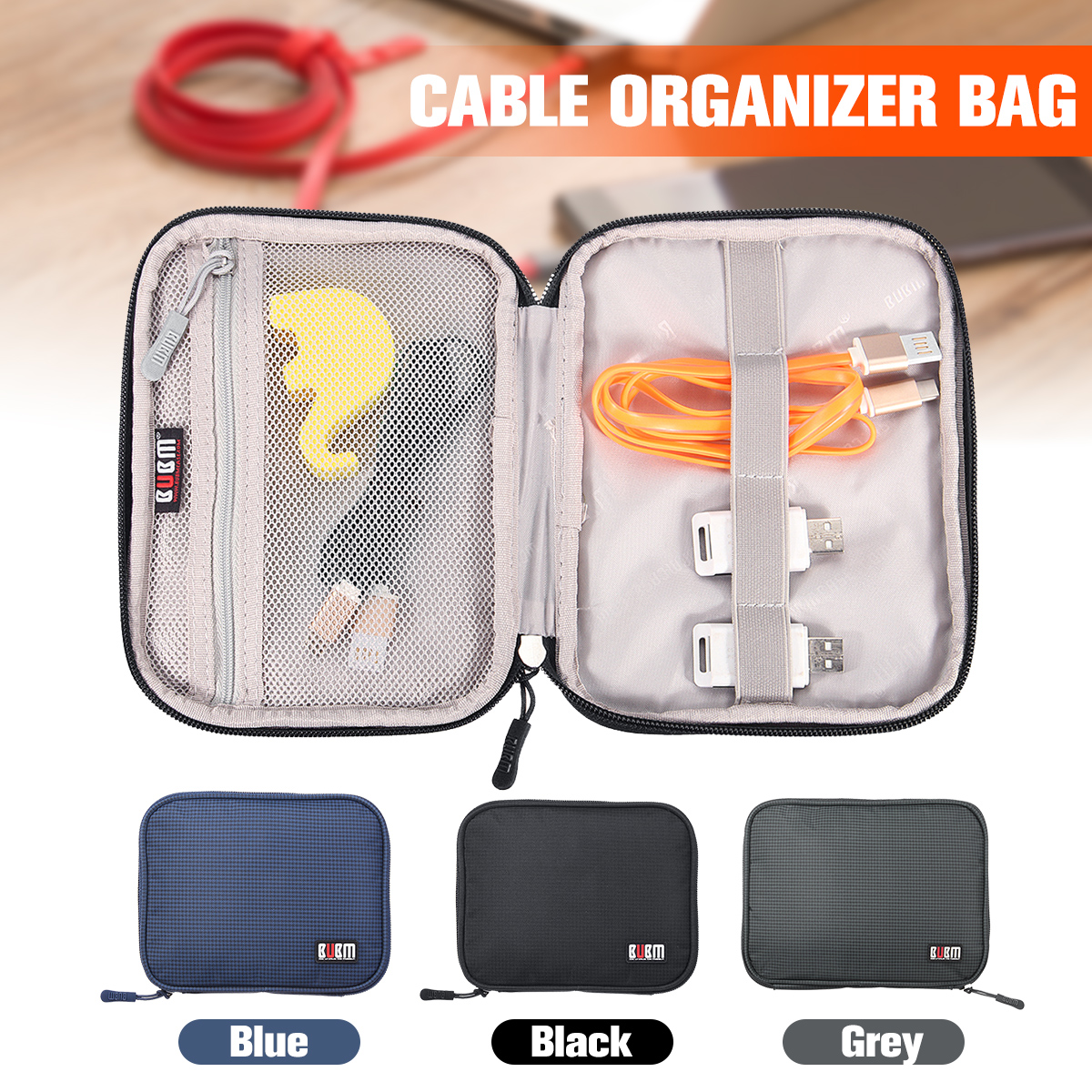Travel Gadget Cable Organizer Storage Bag Digital Electronic Accessories Cable Pouch Phone Charger Power Bank Organization Bag