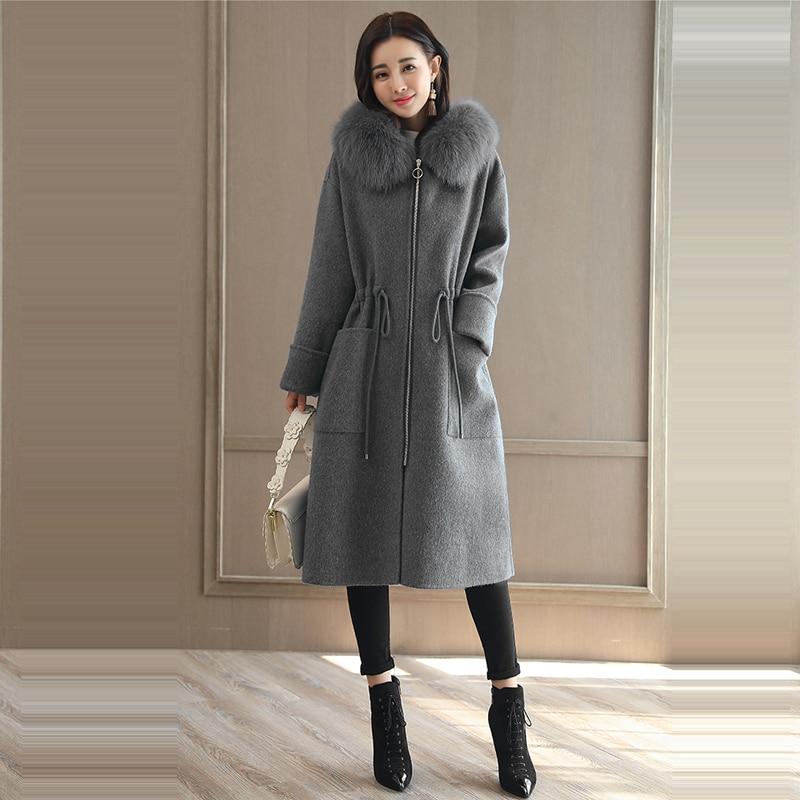 Grand Long Femmes De 2xl À M Costume Fourrure Élégantes 2018 D'hiver gray Blue Col Dames Et Capuchon Ee33 Épais Manteau Nouvelles Mince Veste Vestes Manteaux qxUtRYwtF