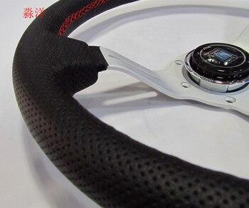 Sport de course design 330mm 13 pouces couleur argent parlé plat profond en cuir véritable et réglage volant de course à la dérive