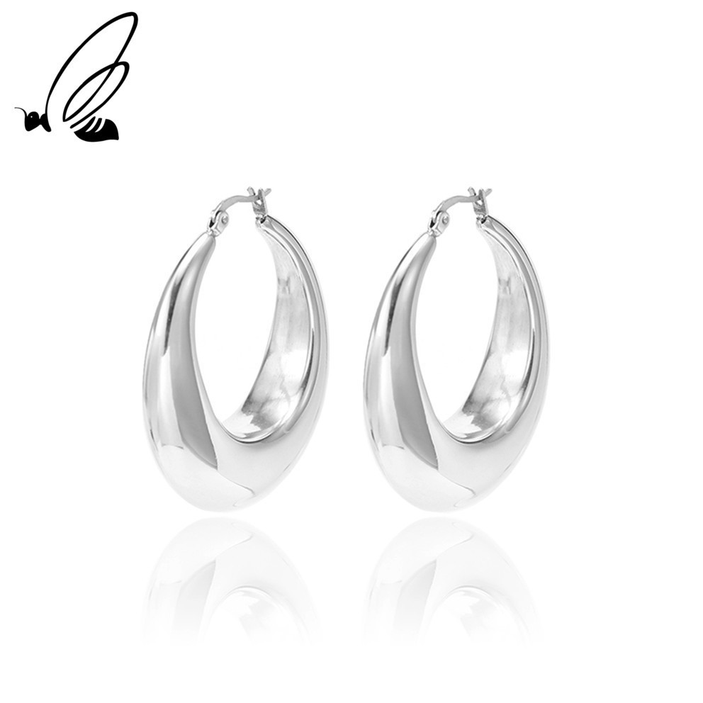 S 39 Steel Two color Gold Silver Color Women Gift Sale Fashion Jewelry Stainless Steel Wives Round Fancy Earrings For Ladies in Drop Earrings from Jewelry amp Accessories