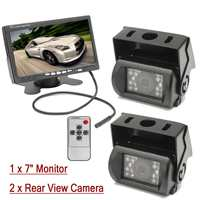 12V 7 inch LCD Monitor +2Pcs 18 LED CMOS Reverse Backup Parking Camera Rear View Kit For Truck Bus Caravans RV