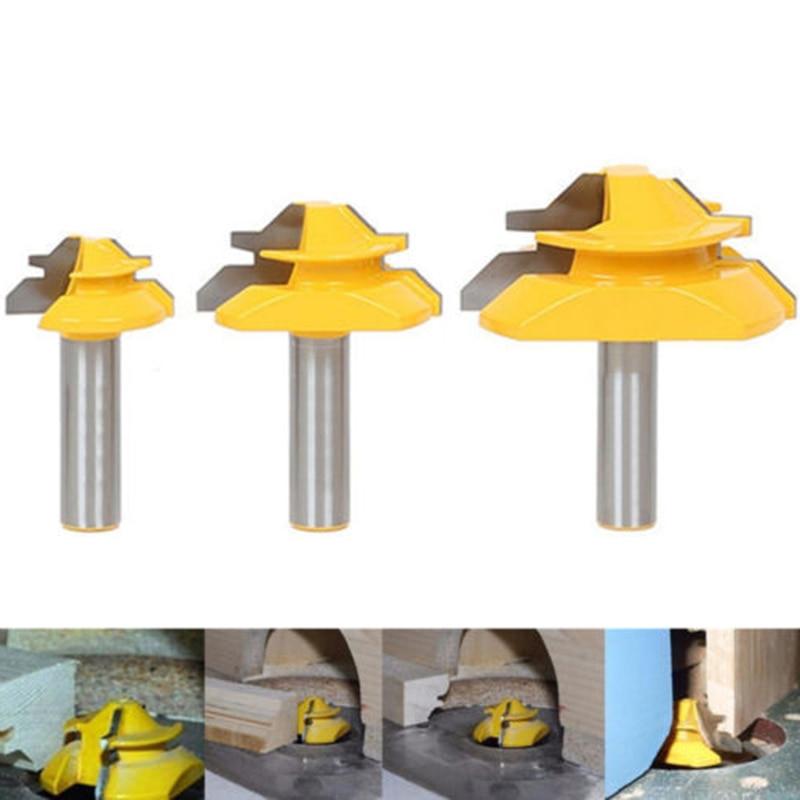 3pcs/Set 1/2 Shank Mitre Glue Joint Router Bit 45 Degree DIY Woodworking Cutter3pcs/Set 1/2 Shank Mitre Glue Joint Router Bit 45 Degree DIY Woodworking Cutter