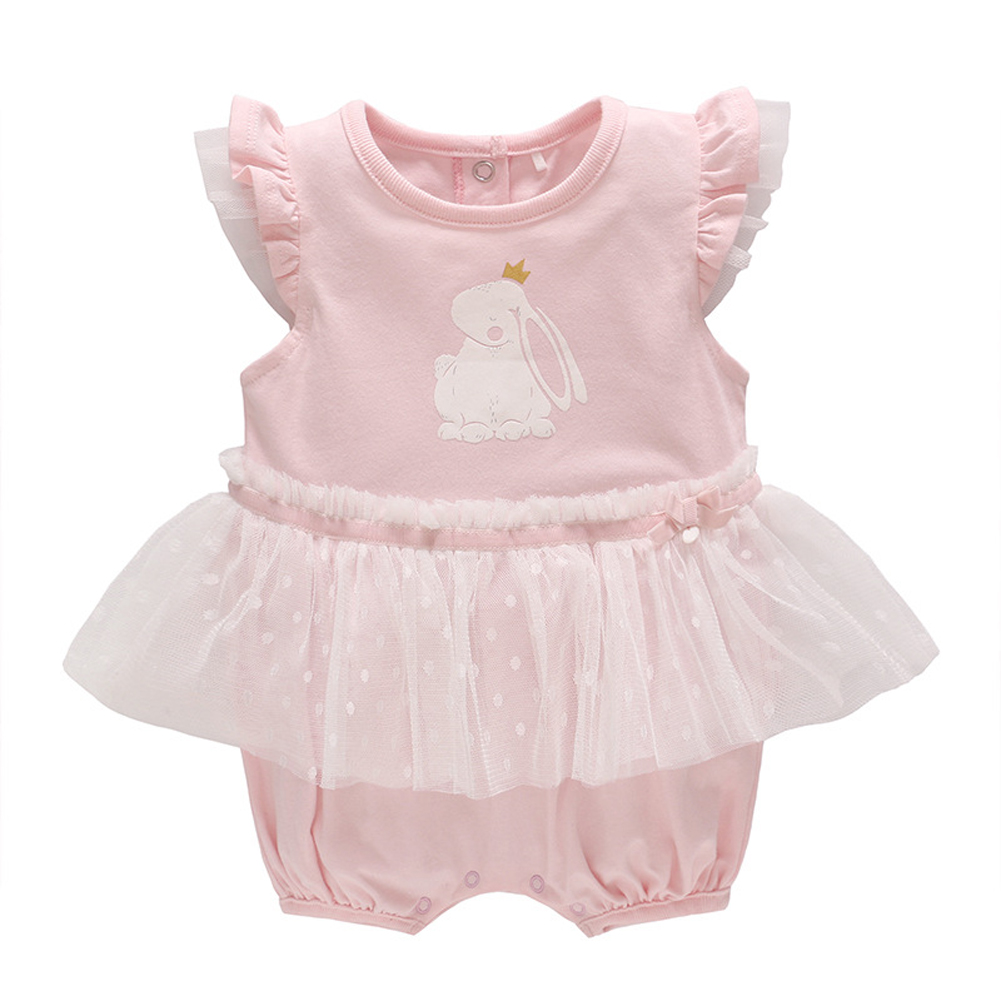 Baby Girls One Piece Rompers Kids Dresses Rabbit Print Ruffles Outfit Jumpsuit
