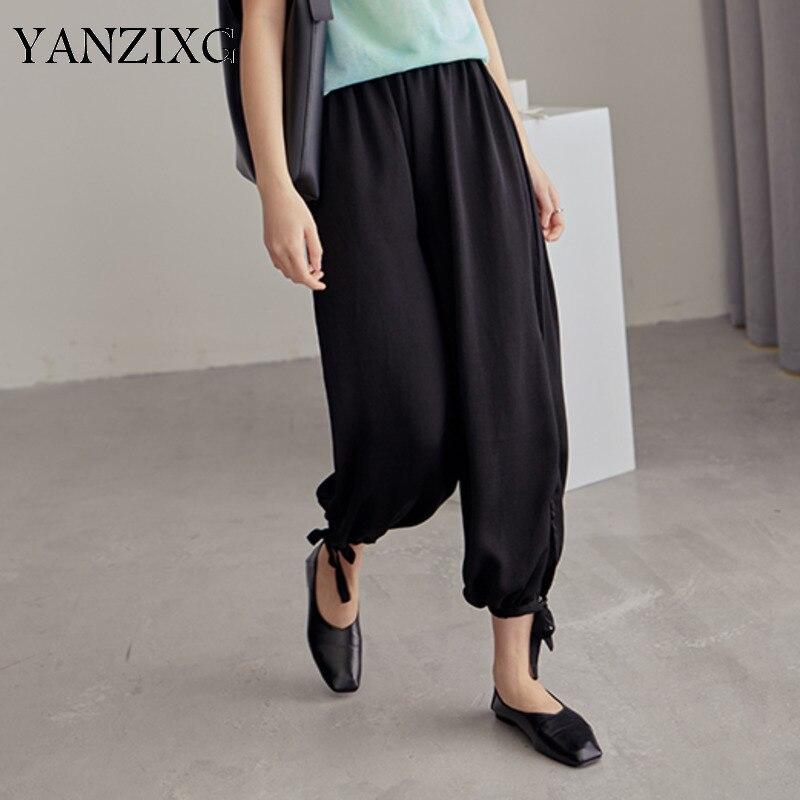 2019 printemps été nouveau Style solide Patchwork élastique taille à lacets taille haute pantalon décontracté coupe large femmes mode marée R278