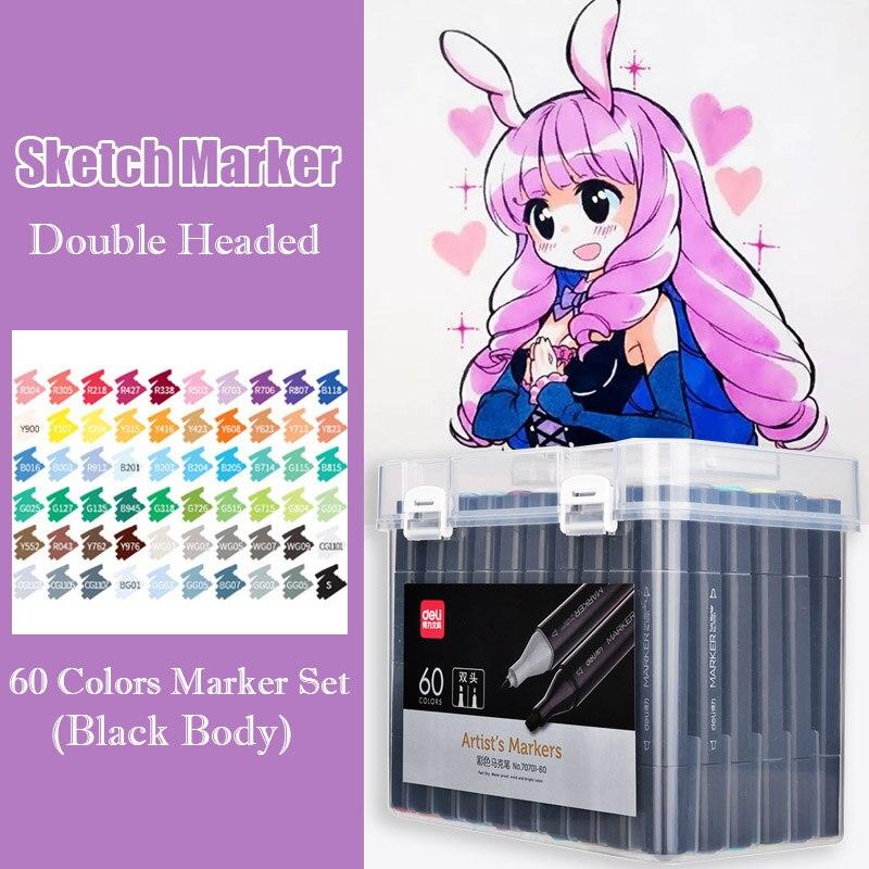 60 marqueurs d'art à base d'alcool de couleur noir double tête dessin croquis marqueur pinceau stylo pour Manga Design papeterie Art fournitures