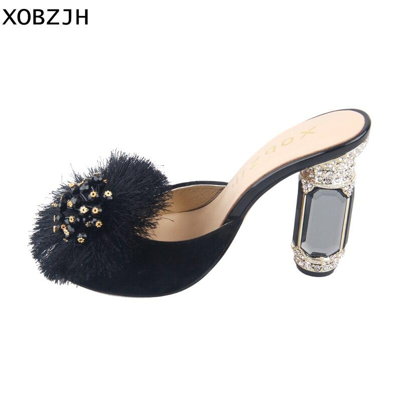 2019 Mulheres Sapatos De Luxo de Couro Genuíno sapatos de Salto Alto Preto Das Senhoras do Partido Do Casamento da Pena Sapatos Mulher Sandálias de Dedo Aberto Plus Size