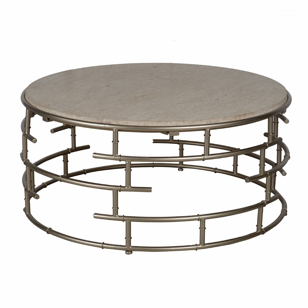 Segments Brass Round Coffee Table With Marble Top, Silver