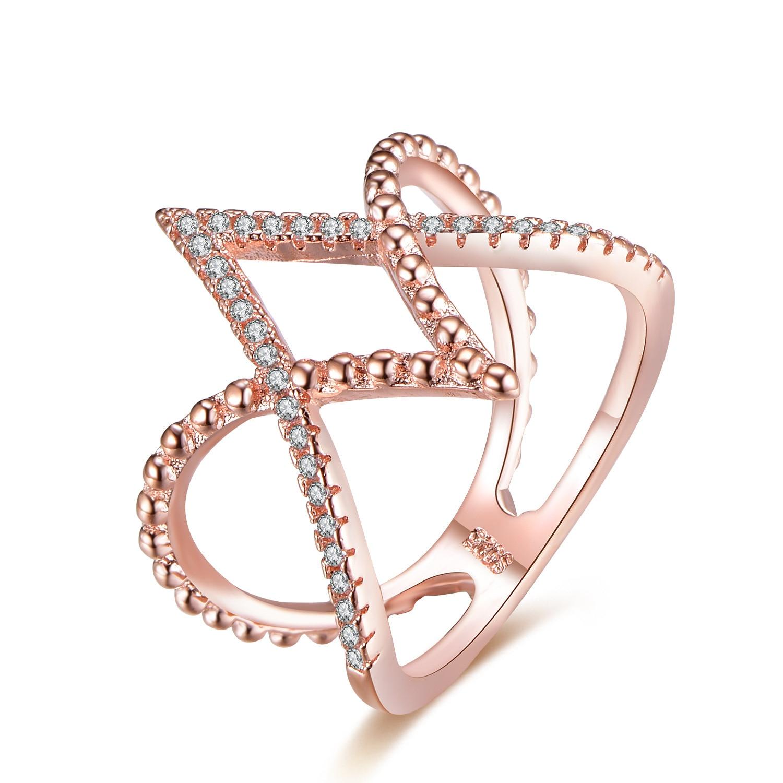 14K Rose Gold Inlaid Diamond Anillos De Ring V Cross Bague Jaune Ring Bizuteria For Women Diamante Gem Stone Rings 6-10 Dropshop