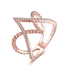 14K Rose Gold Inlaid Diamond Anillos De Ring V Cross Bague Jaune Ring Bizuteria for Women Diamante Gem Stone Rings 6-10 Dropshop vintage chic diamante solid rose embellished alloy ring for women