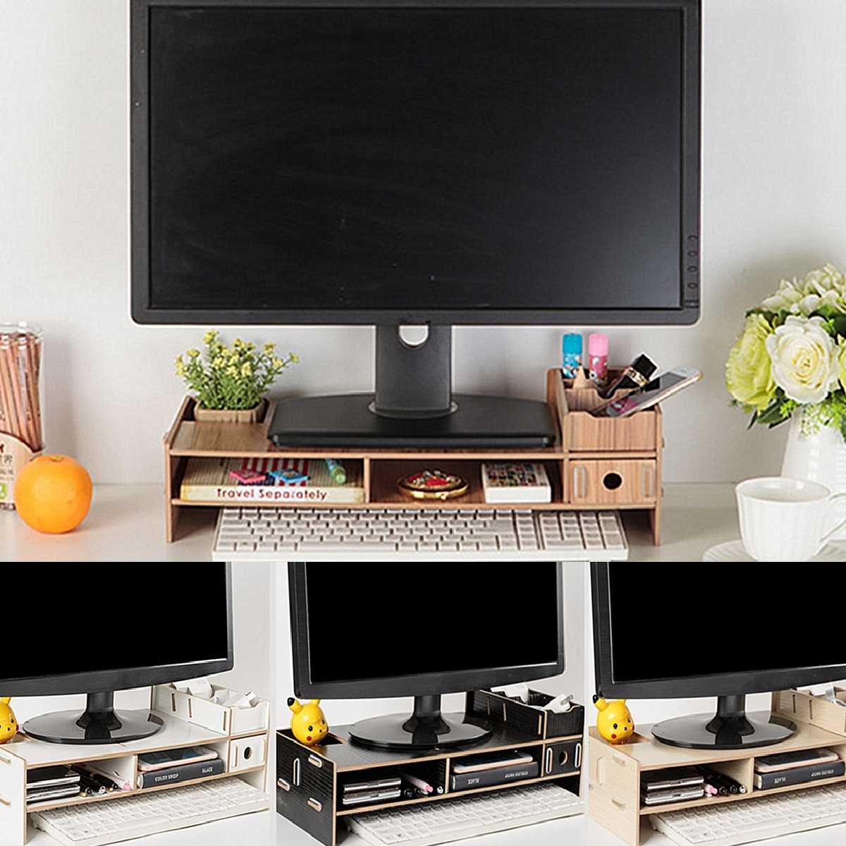 Multi-function Wood Desktop Monitor Stand Computer Screen Riser Shelf Plinth Strong Laptop Stand Desk Holder For Notebook TV