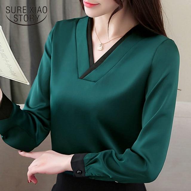 אופנה אישה חולצות 2019 אביב ארוך שרוול נשים חולצות מוצק שיפון חולצה חולצה v צווארון משרד חולצה נשים blusa 1755 50