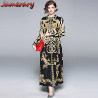 Women Shirt Dresses Long Autumn Dress Runway Lapel Single Breasted Covered Button Floral Zebra Print Angels Maxi Dress Plus Size