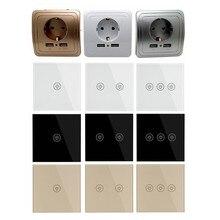 Настенный сенсорный выключатель, штепсельная розетка с двумя usb-переключателями, белое, черное, золотое, Хрустальное стекло, 1, 2, 3 комплекта, 1 способ от Makerele