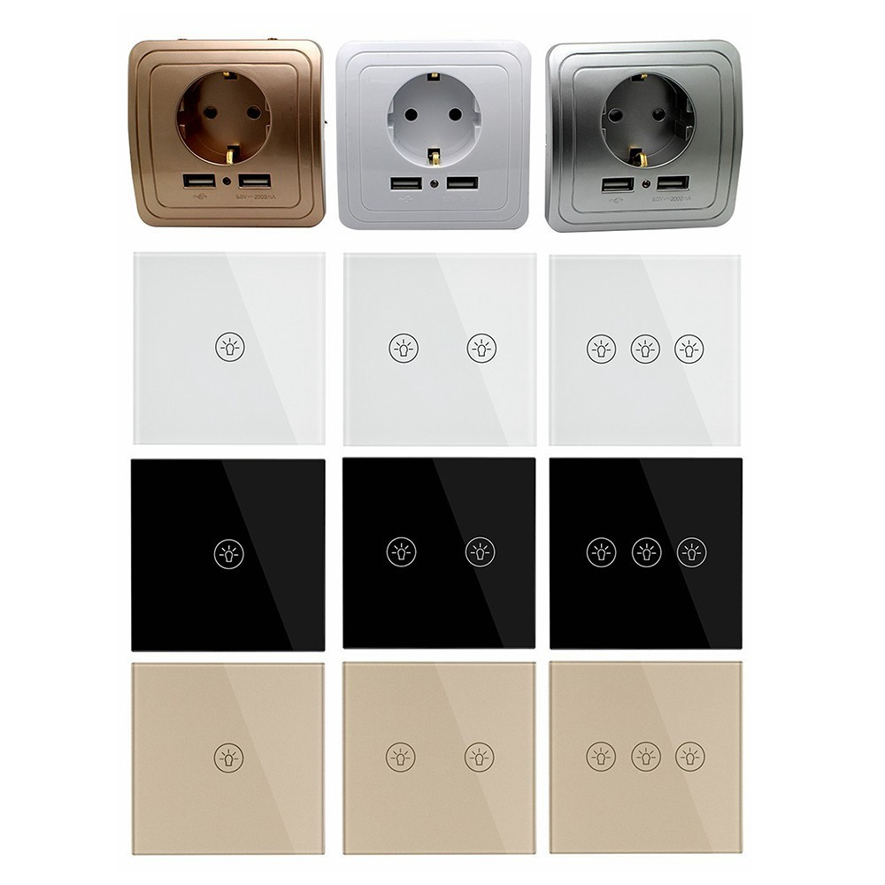 Wall Touch Switch EU Plug Socket Dual USB Switches White Black Gold Crystal Glass 1 2 3 Gang 1 Way From Makerele