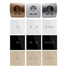 Wall Touch Switch EU/UK And EU Plug Socket Dual USB Switches White Black Gold Crystal Glass 1 2 3 Gang 1 Way From Makerele(China)