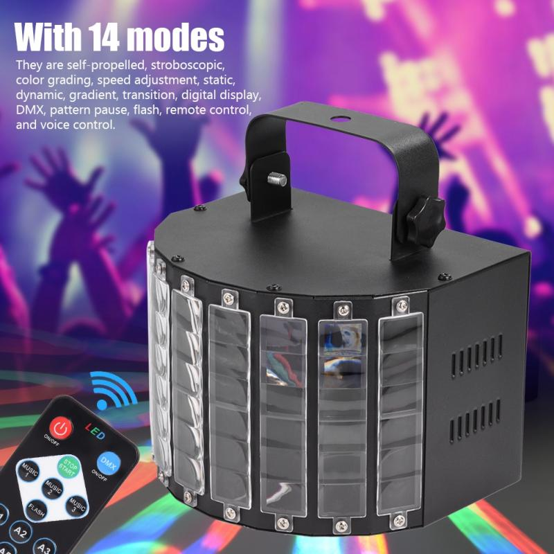 LED Stage Lights Effect Home Disco Light Butterfly 9 Color RGB Auto Sound DJ Light for KTV Xmas Party 220V EU in Stage Lighting Effect from Lights Lighting