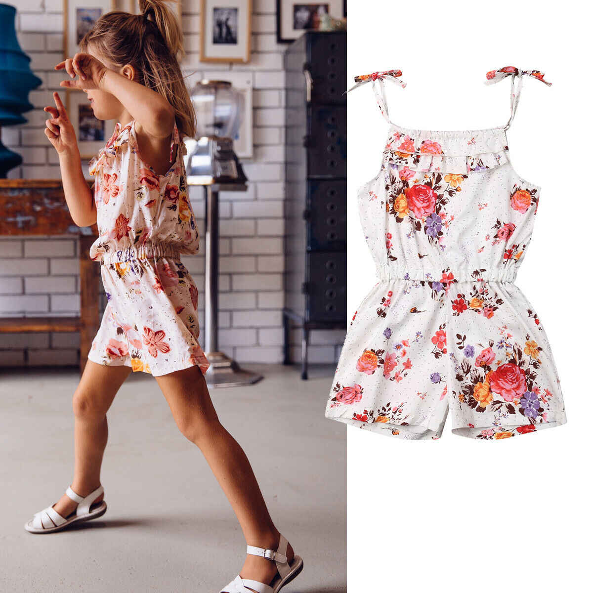 Kinder Mädchen Floral Ärmellose Süße Overall Body Baby Kinder Kinder Casual Outfits Kleidung Overall 2-7Y Sommer Geschenk