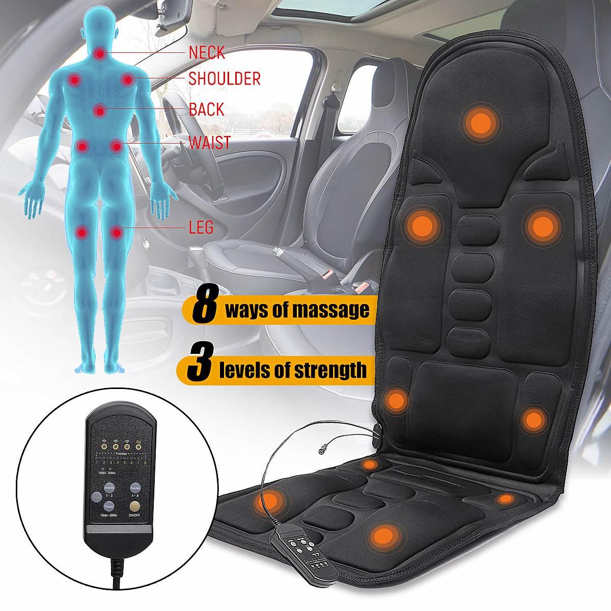 Mulifunction elétrico voltar massagem aquecida assento de carro em casa escritório almofada do assento de carro cadeira massageador lombar volta pescoço almofada relaxamento