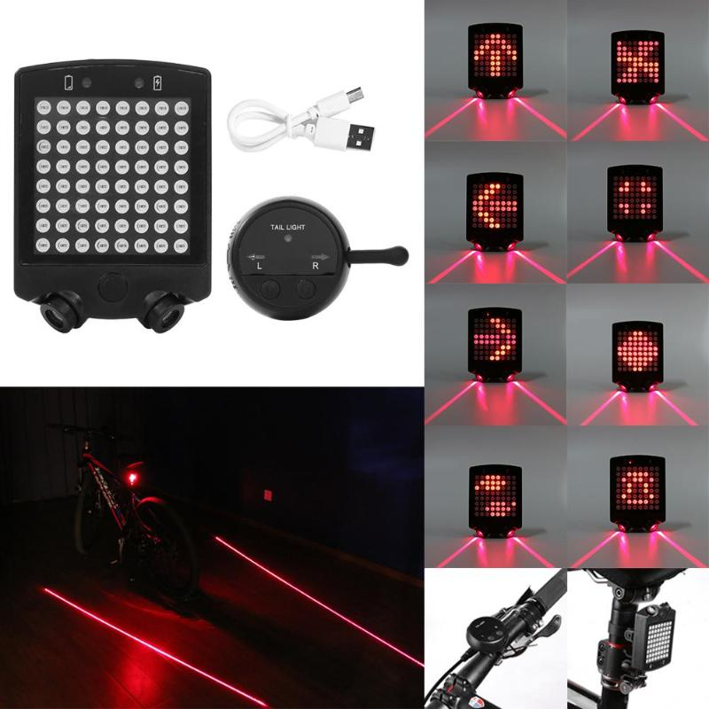 Bicycle Rear Light Wireless Remote Control Steering Lamp Brake Lamp Laser USB Rechargeable Bike Turn Signal Safety Warning Light
