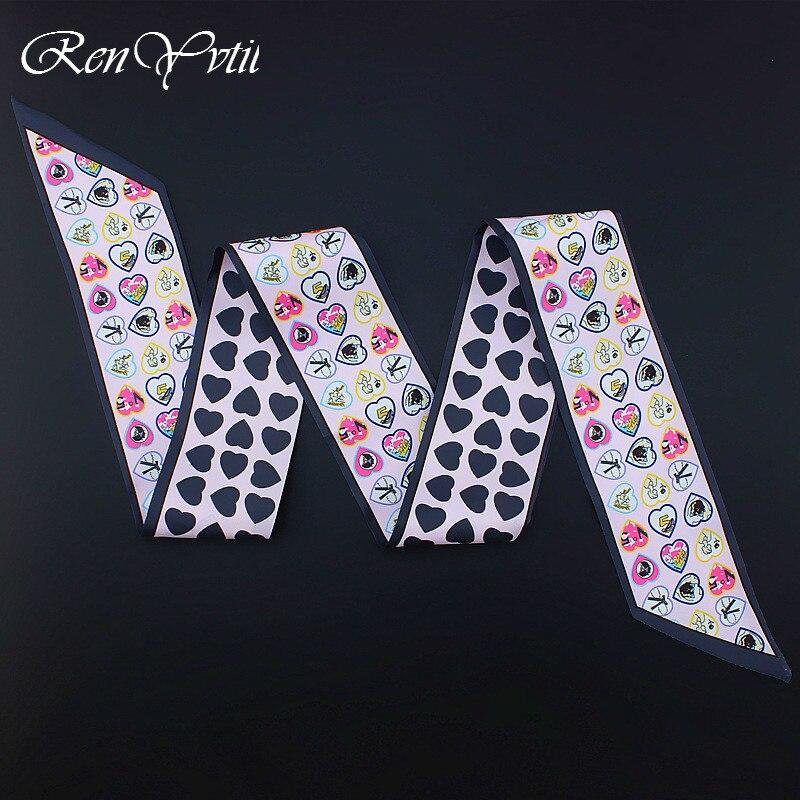 120cm*7cm New Design Luxury Brand Silk Heart Bohemian Design Women   Scarf   Handle Bag Ribbons Female Headband Long   Scarf     Wraps