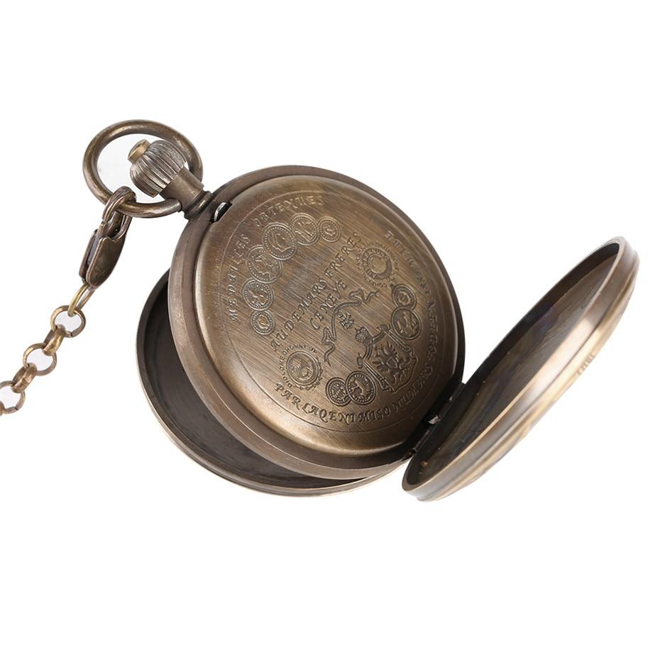Купить с кэшбэком Antique Pure Copper Mechanical Pocket Watch Creative Roman Numerals Tourbillon Display Pendant Clock Luxury Gifts Item Men Women
