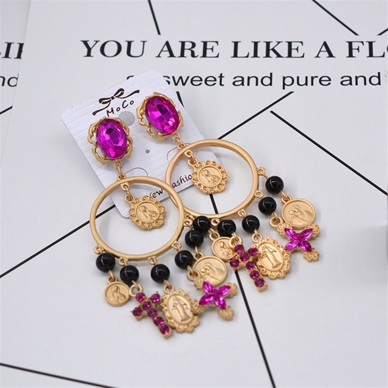Pink Rhinestone Baroque Earring Jewelry European Fashion Cross Drop Women Big Baroque Earring Jewelry in Drop Earrings from Jewelry Accessories