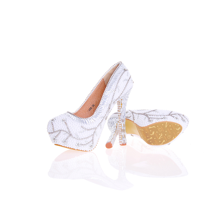 White Pearls With Silver Rhinestone Flowers Unique Design Delicate Fresh Handmake Shoes Partyprom Bridal Wedding High Heels red color rhinestone partyprom stiletto bridal wedding shoes plus size 42 43 handmake crystal women high heels cinderella shoes