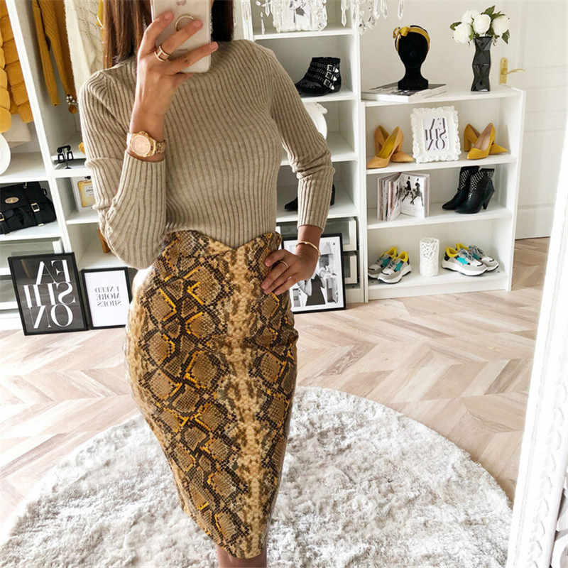 304da71a28 Detail Feedback Questions about Women Snake Skin Sexy Bodycon Skirt 2019  New Fashion High Waist Pencil Skirt Fashion Snake Skin Printed Knee length  Work ...