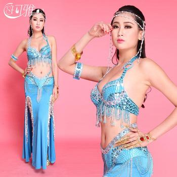 7 Colors Belly Dance Sets(Skirt+Belt+Bra) Performance Clothes for Belly Dance Bellydancing Costume Set Beaded Belly Dance Dress