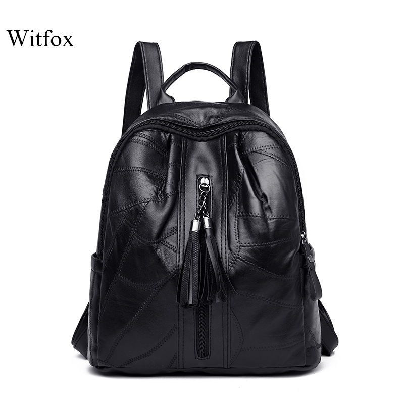 Witfox Genuine Leather Preppy Style Backpack For College School Bag Pack Carry Book Package Tassel Sheep Skin Cell Phone Packet