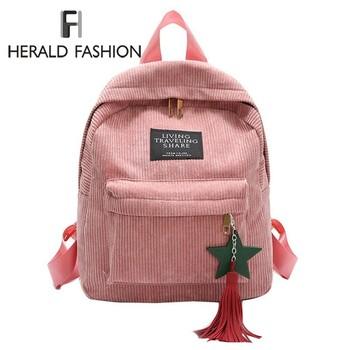 Herald Fashion Women plecak z pomponem jakości sztruksowe torby szkolne styl Preppy torba studencka na dziewczynę plecak podróżny Mochila tanie i dobre opinie FH HERALD FASHION Tłoczenie Miękka Poniżej 20 litr Wnętrza przedziału Miękki uchwyt Plecaki Tassel zipper Ił kieszeń