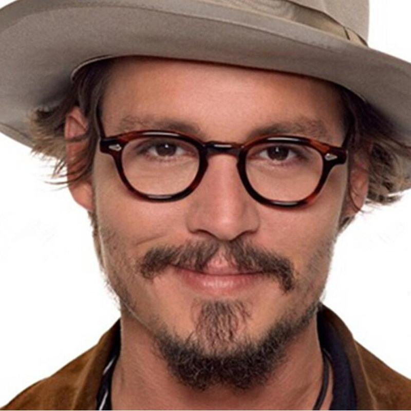 YOOSKE Vintage Glasses Frame Men Johnny Depp Style Designer Glasses Women Classic Clear Lens Eyeglasses Optical Spectacle Frames