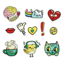 PGY Cartoon Cat Embroidered Patches Iron On DIY Custom Music Brids Rainbow Drink Appliques for Clothes Kid Coat Decor