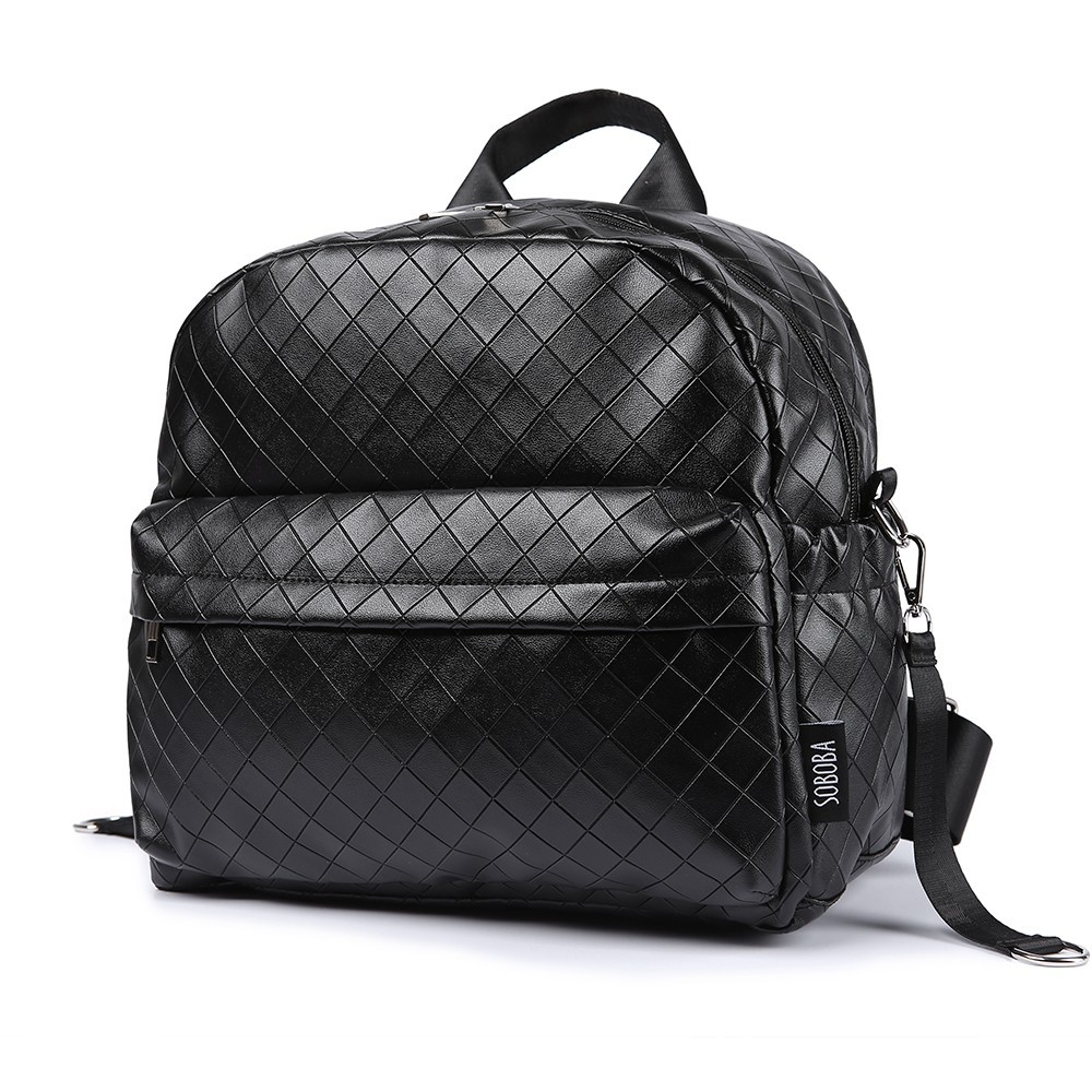 Soboba Black Plaid Large Capacity Diaper Bag Stylish Travelling Baby Stroller Bag Brief Maternity Backpack Fashionable