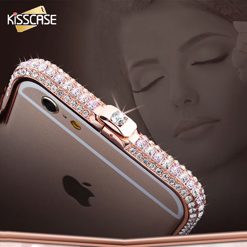 KISSCASE Fashion Elegant Luxury Bling Diamand Mobile Phone Case For iPhone 6 6s Plus Funda Capa Diamond Metal Bumper Cover Cases in Phone Bumpers from Cellphones Telecommunications