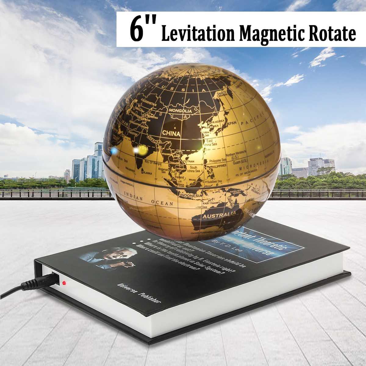 6 ''Home Office Girar Globo Levitação Magnética Flutuante Levitating Terra Mapa Artesanato para Home Office Desktop Decoração