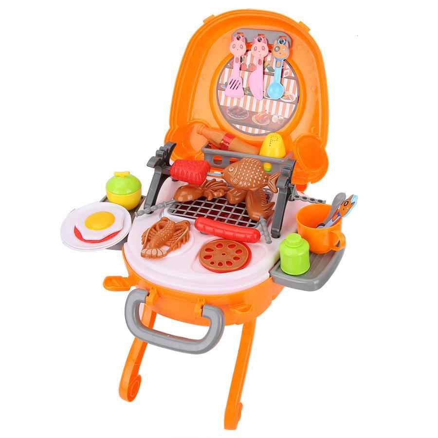 Simulation Kids Kitchen Rotisserie Grill Shop Barbecue Food Mini Kitchen Toy Kit Baby Dollhouse Furniture Pretend Play Toys