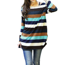 Korean Fashion Women Slouchy Shirt Colorful Stripes Knitted Long Shirt Pullover Tops Multicolor Harajuku Blouse Shein Camisas