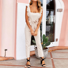 Jumpsuit 2019 Summer Linen Holiday Sweet Jumpsuits Casual Sleeveless Shirred Frill Girls Playsuit Rompers With Belts Harem Pants цена 2017