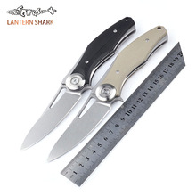 Folding Knives D2 Blade Plating Titanium Steel Handle Flipper Camping Tactical Pocket Army Knife Survival Tools EDC