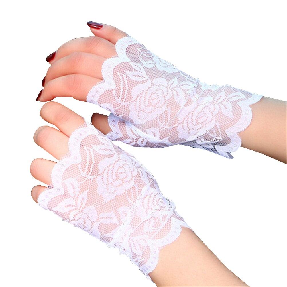 Pair Women Half Hand Short Gloves UV Protection Fingerless Gloves Sun Block For Driving